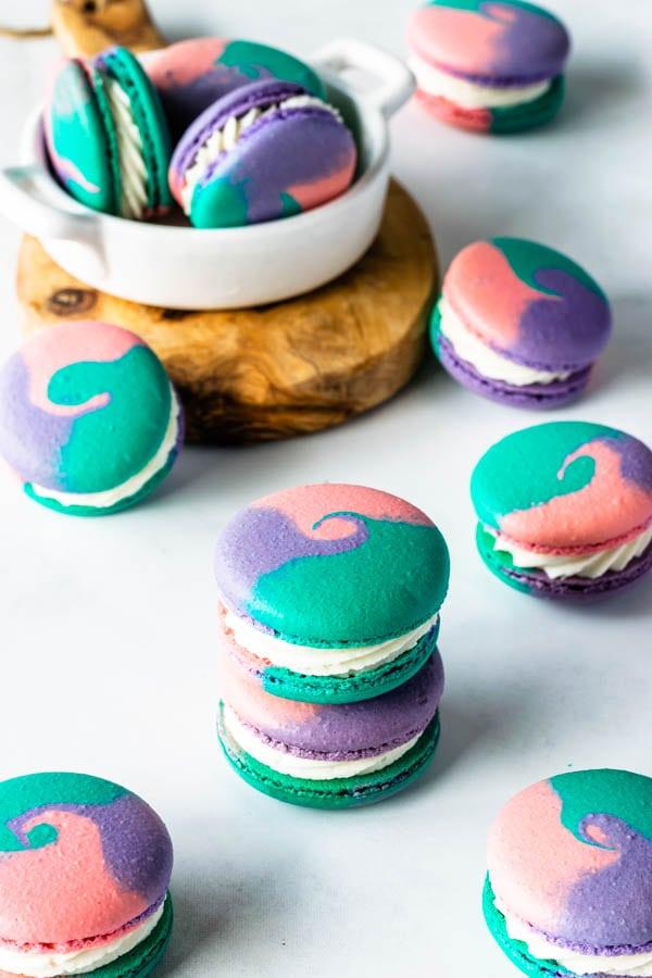multi-colored macaron shells vanilla macarons