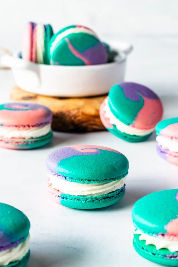 macarons with many different color shells