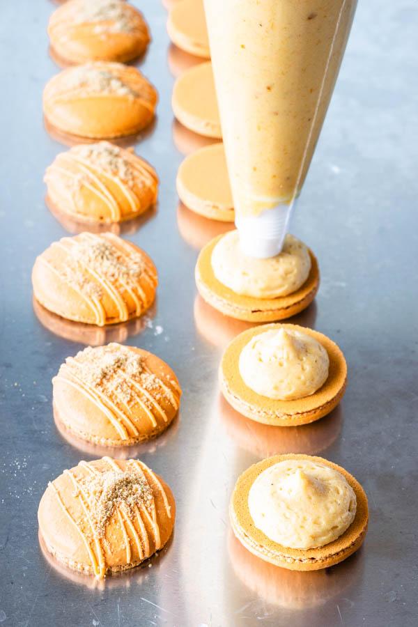 piping pumpkin cheesecake filling on macarons