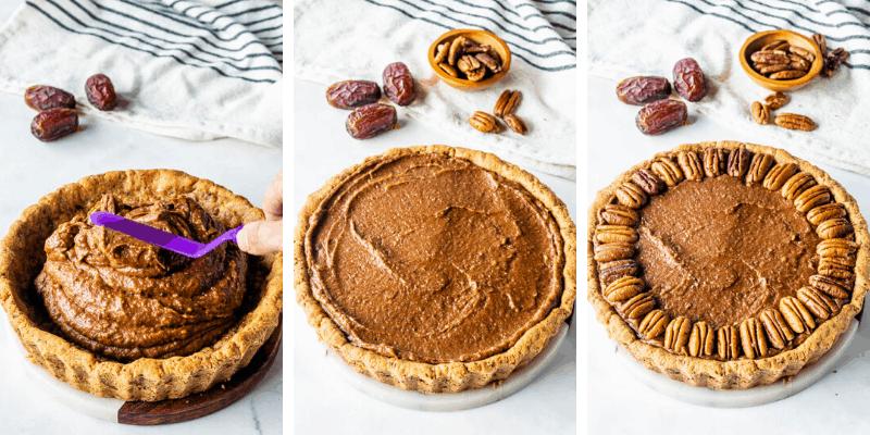 spreading vegan pecan pie filling on the crust