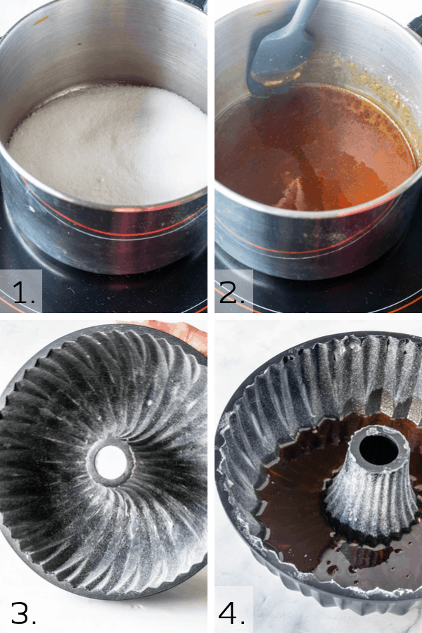 first picture pan with white sugar second picture melted white sugar third picture greased bundt pan forth picture caramel on the bottom of bundt pan