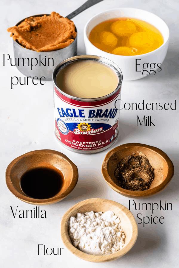 ingredients to make pumpkin flan pumpkin puree, eggs, condensed milk, vanilla, pumpkin spice, flour