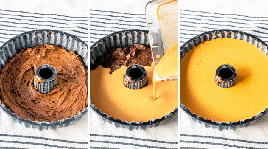 first picture chocolate cake batter on the bottom of the pan, second picture pouring pumpkin flan on top of chocolate batter, third picture ready to bake