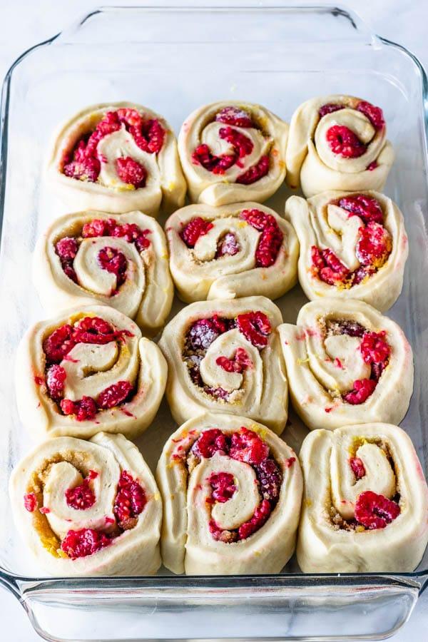 lemon raspberries sweet rolls before baking