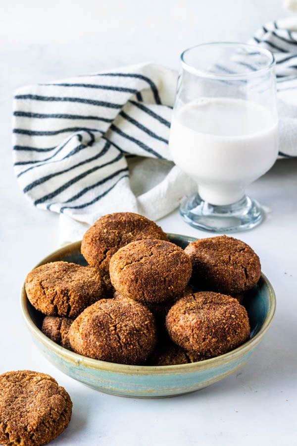 vegan chewy ginger cookies in a plate