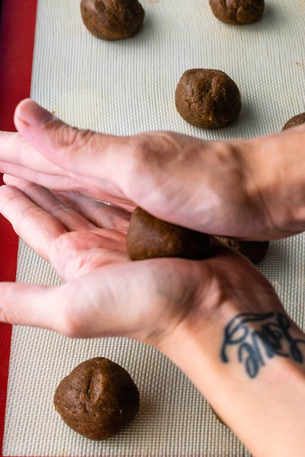 rolling cookies between hands