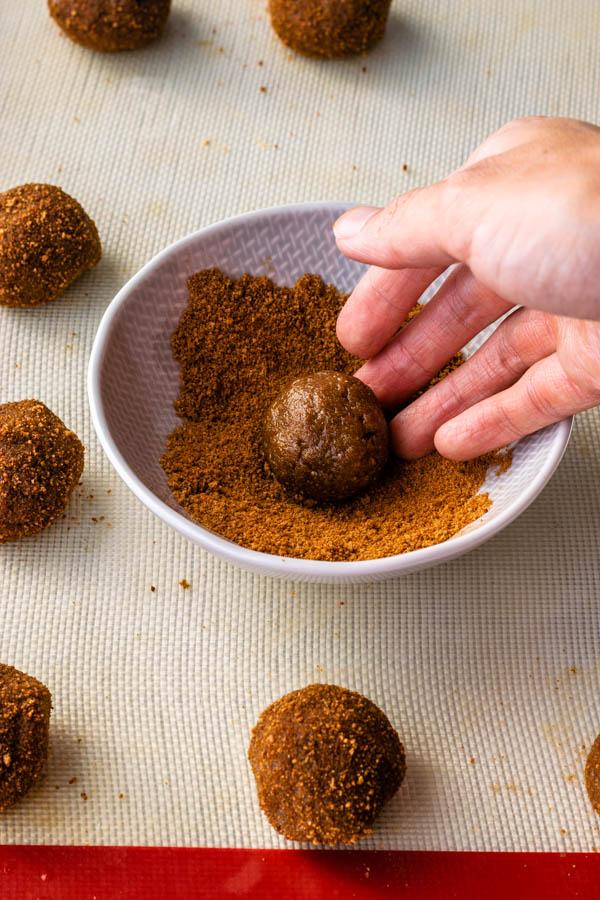 coating cookie dough in coconut sugar