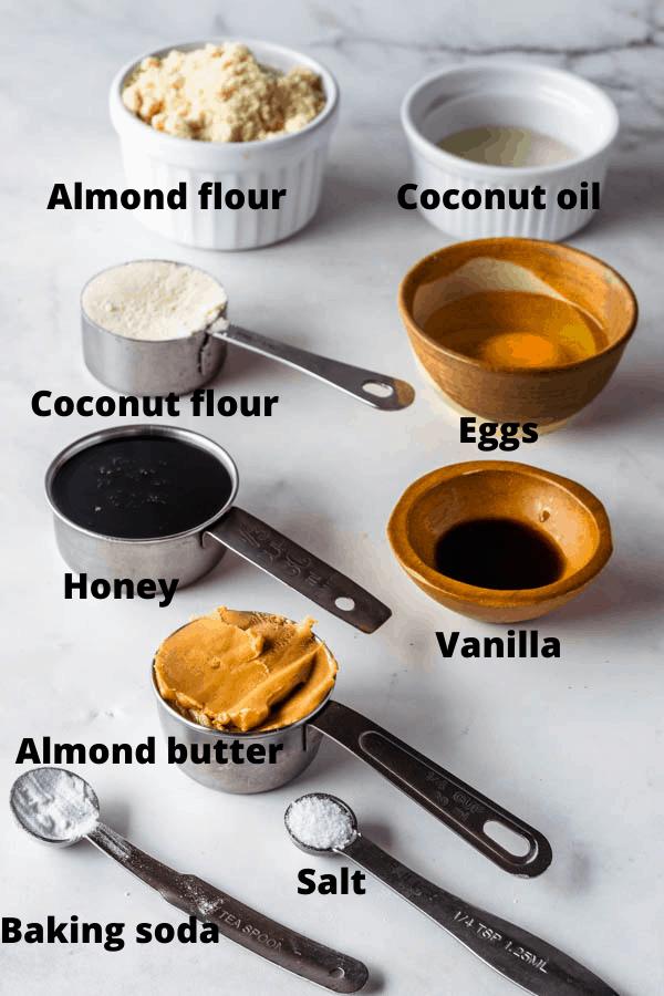 ingredients to make healthy honey cookies also paleo