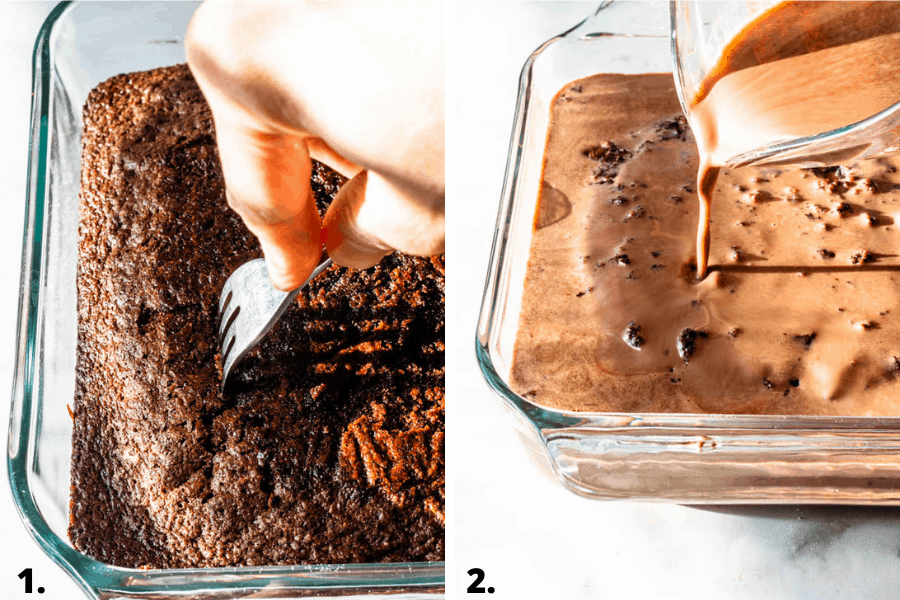 steps on how to pour milk on chocolate tres leches