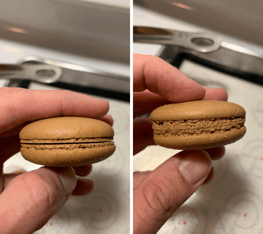 two pictures: left one macarons with small feet. right one: macarons with tall feet.