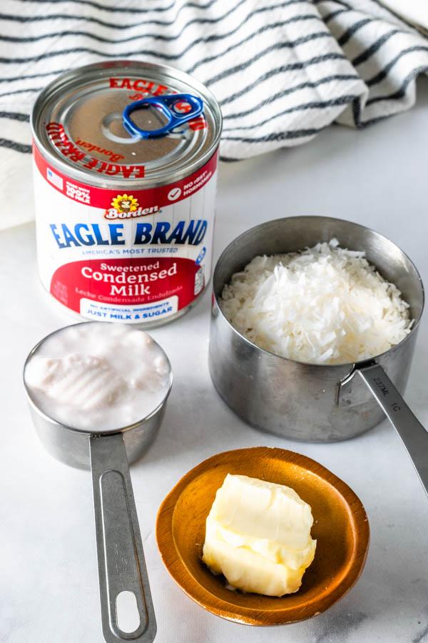 ingredients to make coconut fudge