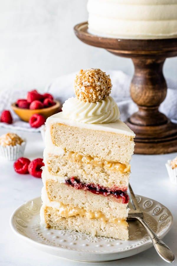 slice of coconut raspberry cake