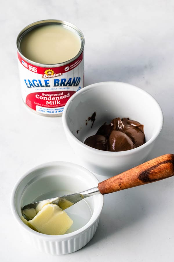 condensed milk, nutella, butter