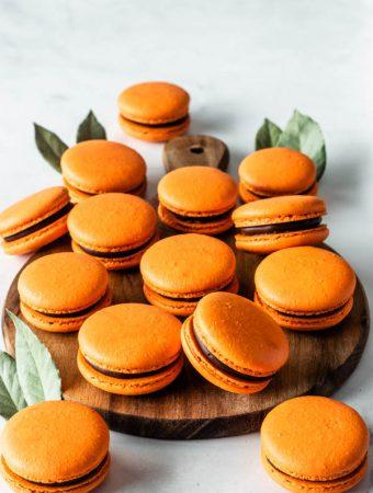 Orange Macarons filled with chocolate ganache and orange marmalade