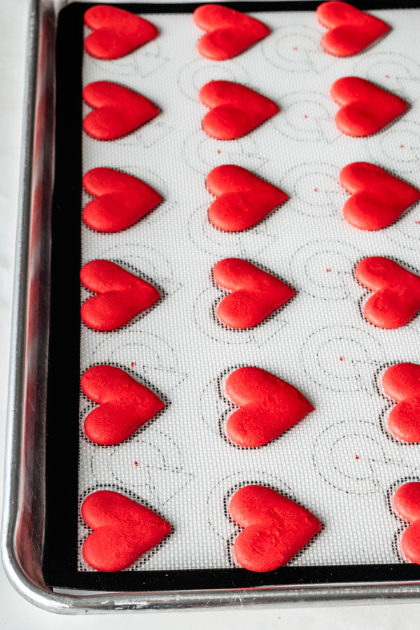 Piped Heart Shaped Macarons
