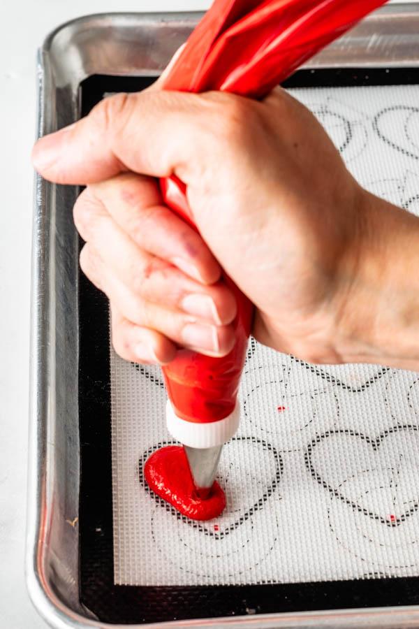 Piping Heart Shaped Macarons