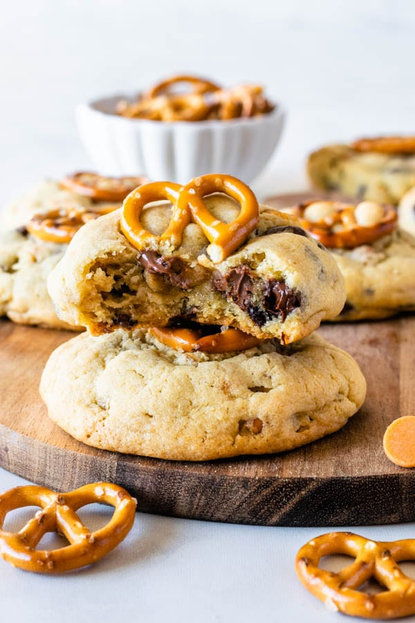 Pretzel Chocolate Chip Cookies chewy cookies bite