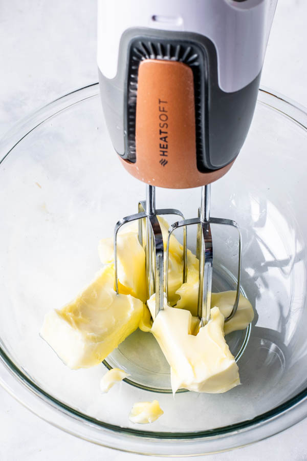 creaming butter in the mixer
