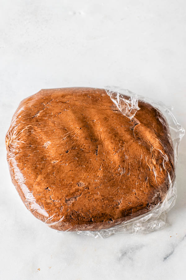 Chocolate Tart Dough wrapped in plastic