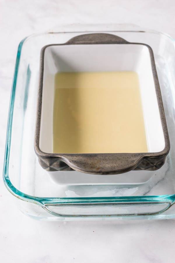 condensed milk in a dish to make dulce de leche