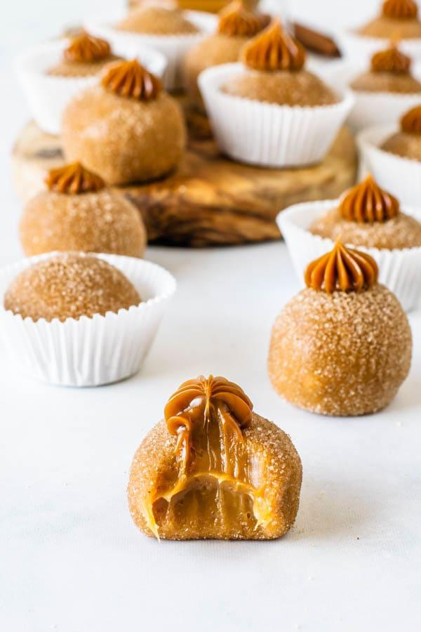 bite of dulce de leche truffle