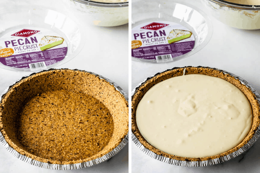 pouring cheesecake batter on the bottom of the pie crust