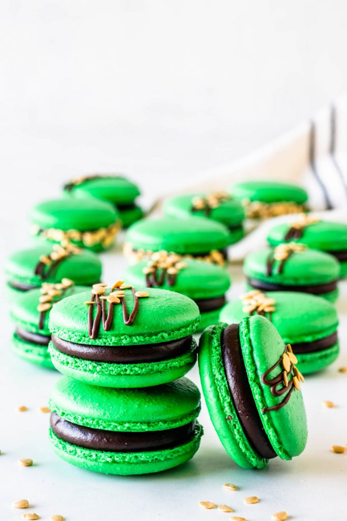 Guinness Macarons with chocolate ganache green shells