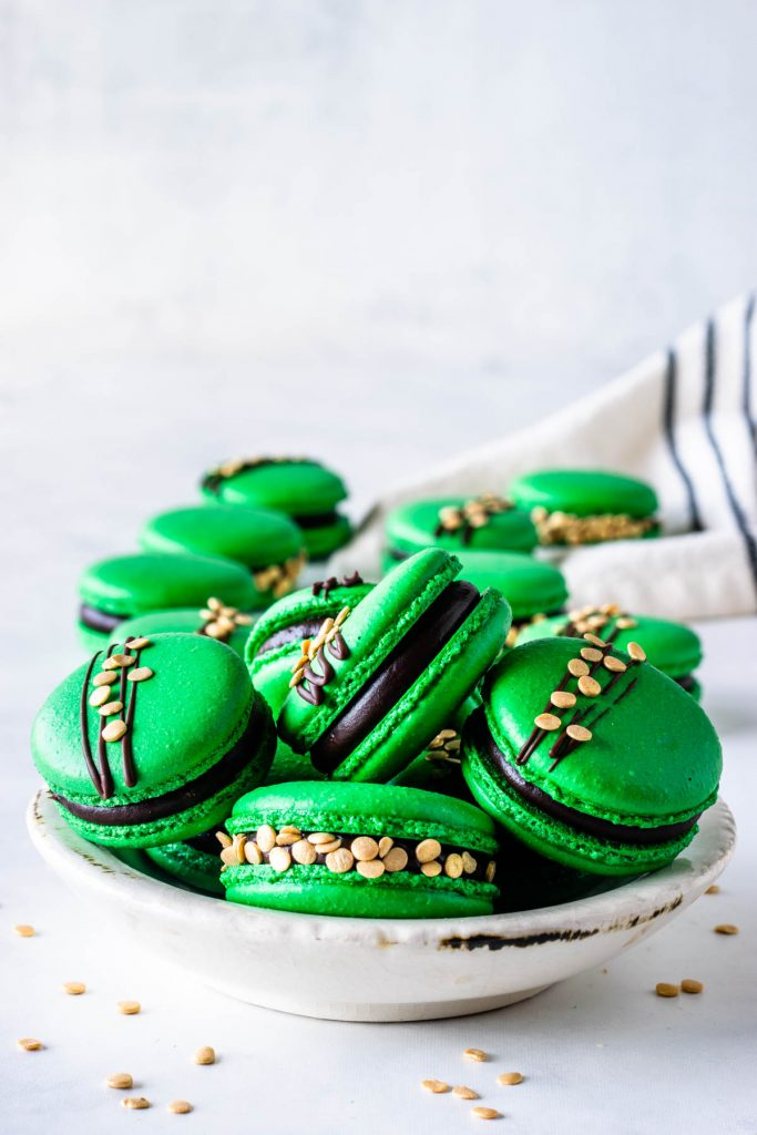 St Patrick's Macarons green macarons filled with guinness ganache