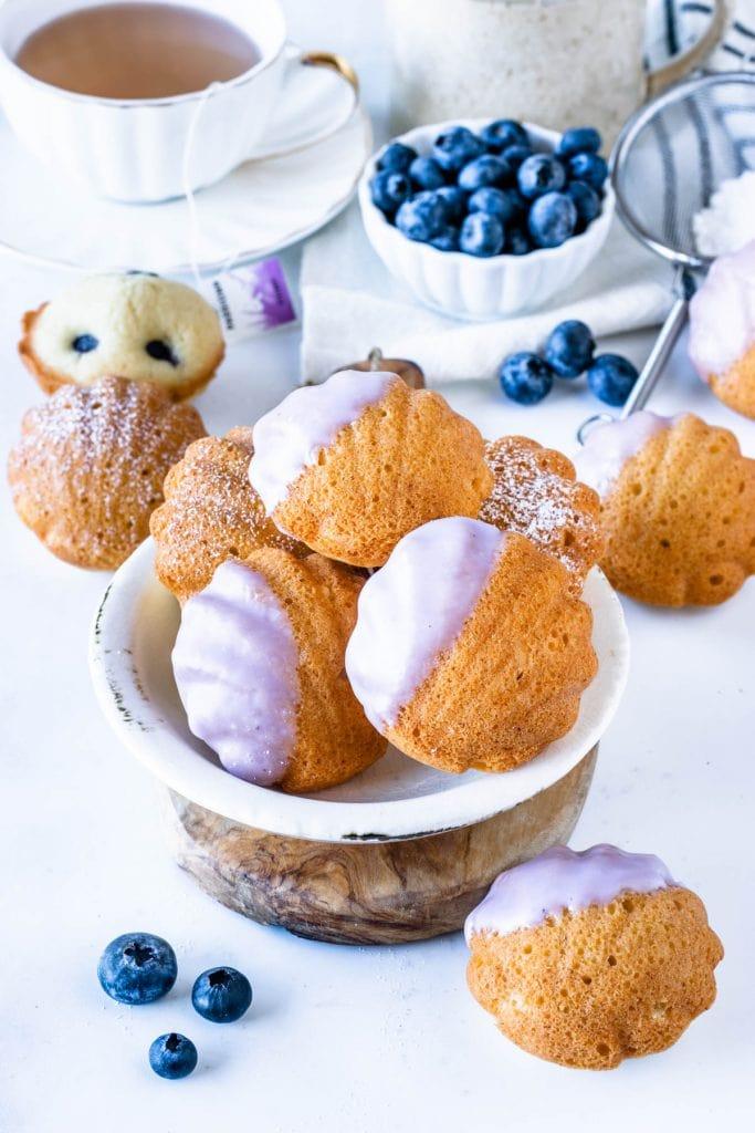 Vegan Blueberry Lemon Madeleines