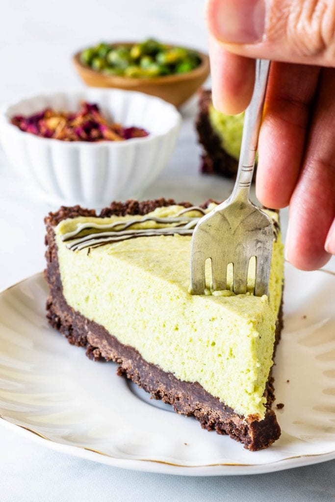slice of pistachio tart
