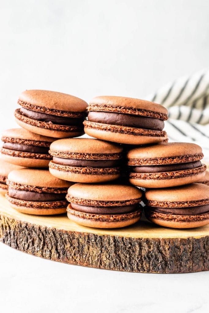 Vegan Chocolate Macarons filled with chocolate ganache