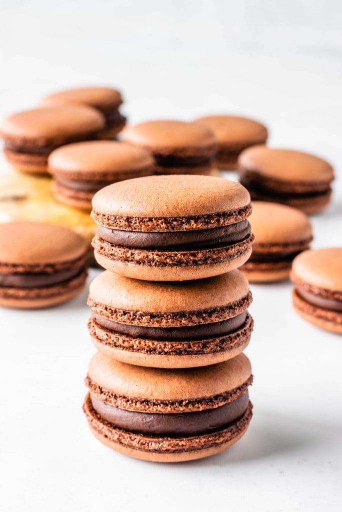 Vegan Chocolate Macarons stacked