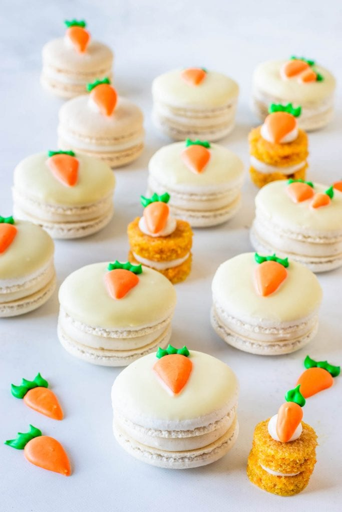 Macarons filled with carrot cake and cream cheese frosting