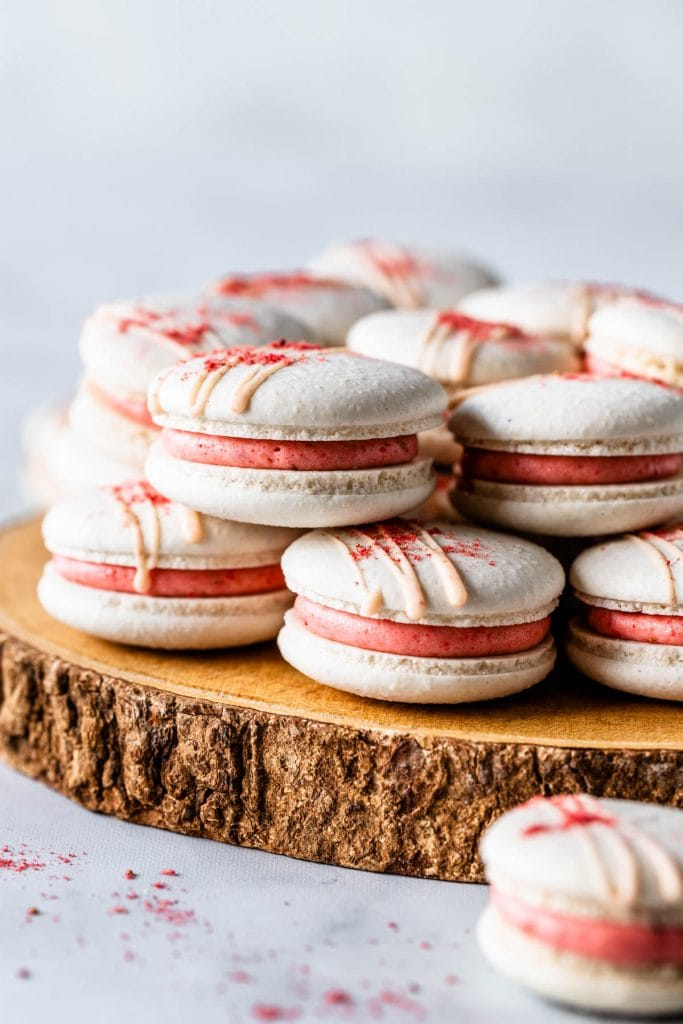 Vegan macarons with strawberry buttercream and strawberry jam