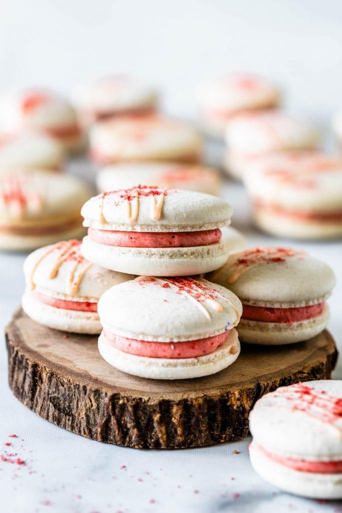 Vegan Strawberry Macarons