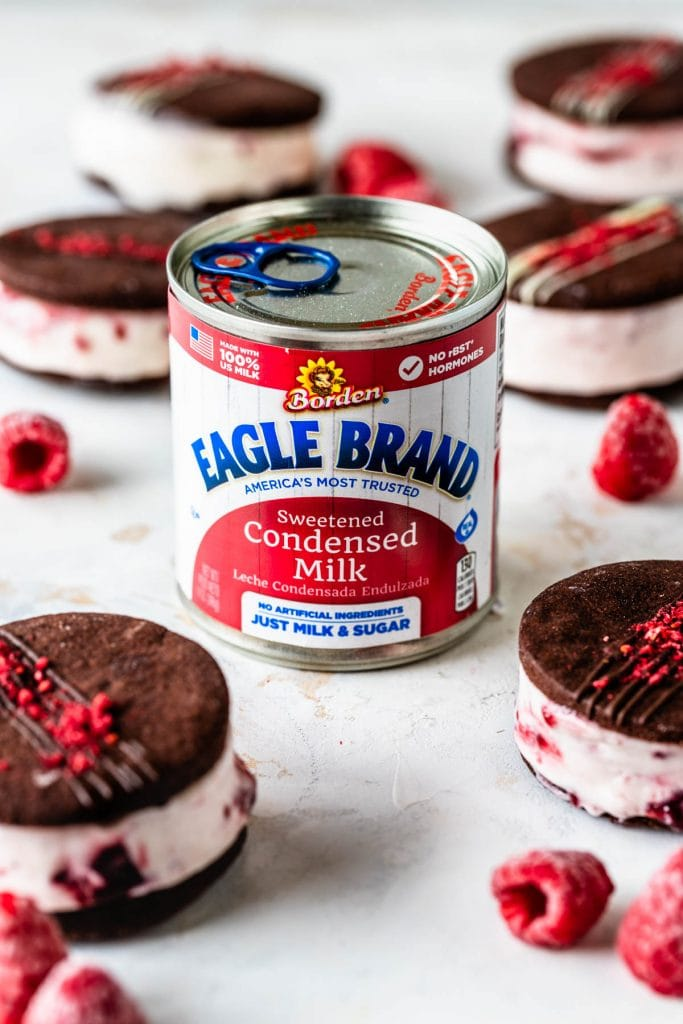 Chocolate Raspberry Ice Cream Sandwiches with a can of Eagle Brand® sweetened condensed milk