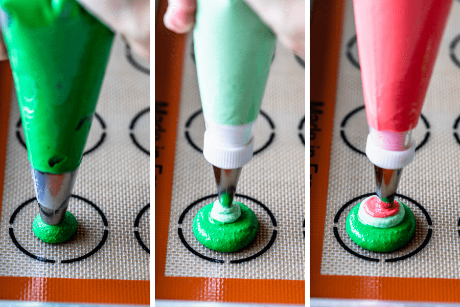 three pictures of piping macaron batter. first picture piping dark green batter, second picture piping light green batter, and third picture piping red batter on top