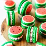 macarons shaped like watermelon filled with buttercream