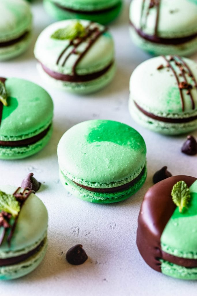 Mint Chocolate Macarons dipped in chocolate filled with ganache