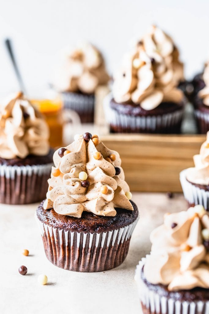 Dulce de Leche Mocha Cupcakes topped with crispearls and swiss meringue buttercream