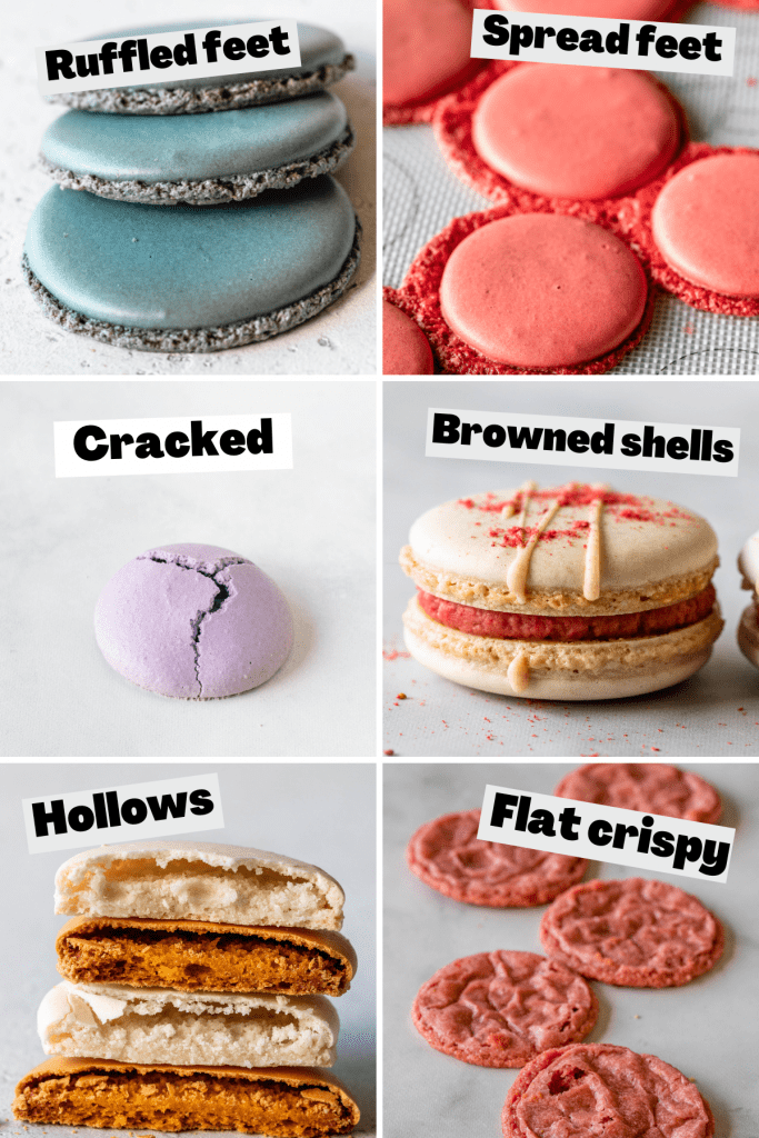 6 pictures showing macarons with issues caused by oven.