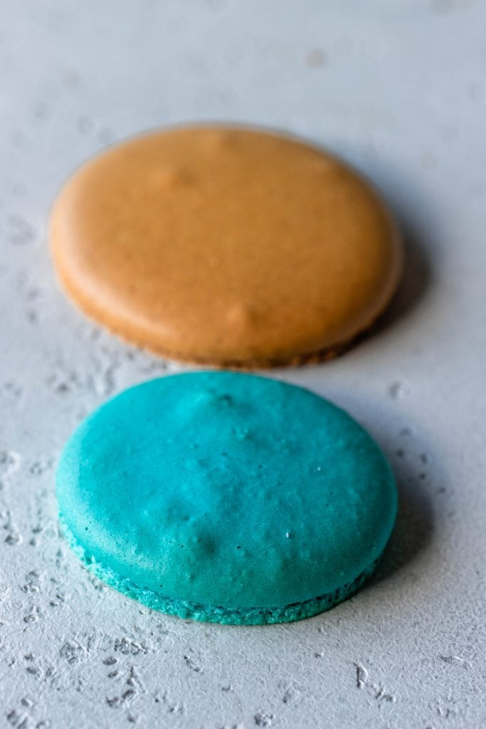 Macaron shells with air bubbles in them