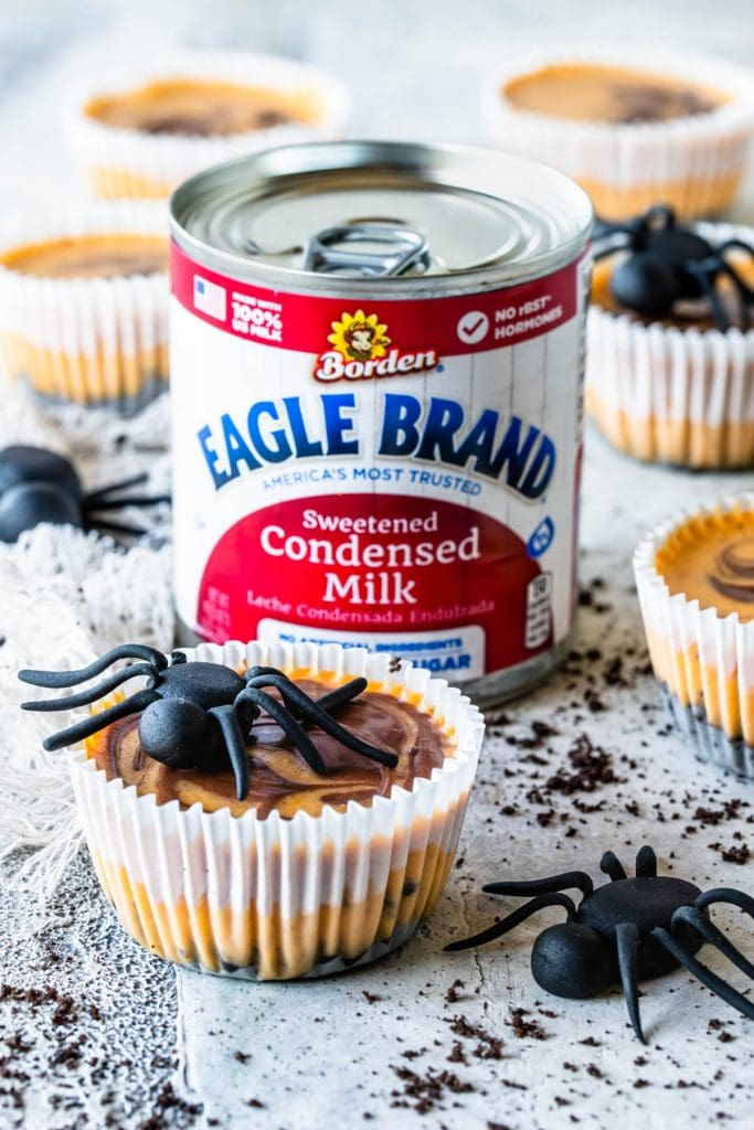 Chocolate Pumpkin Mini Cheesecakes with a fondant spider on top and on the side, and a can of eagle brand sweetened condensed milk on the back.