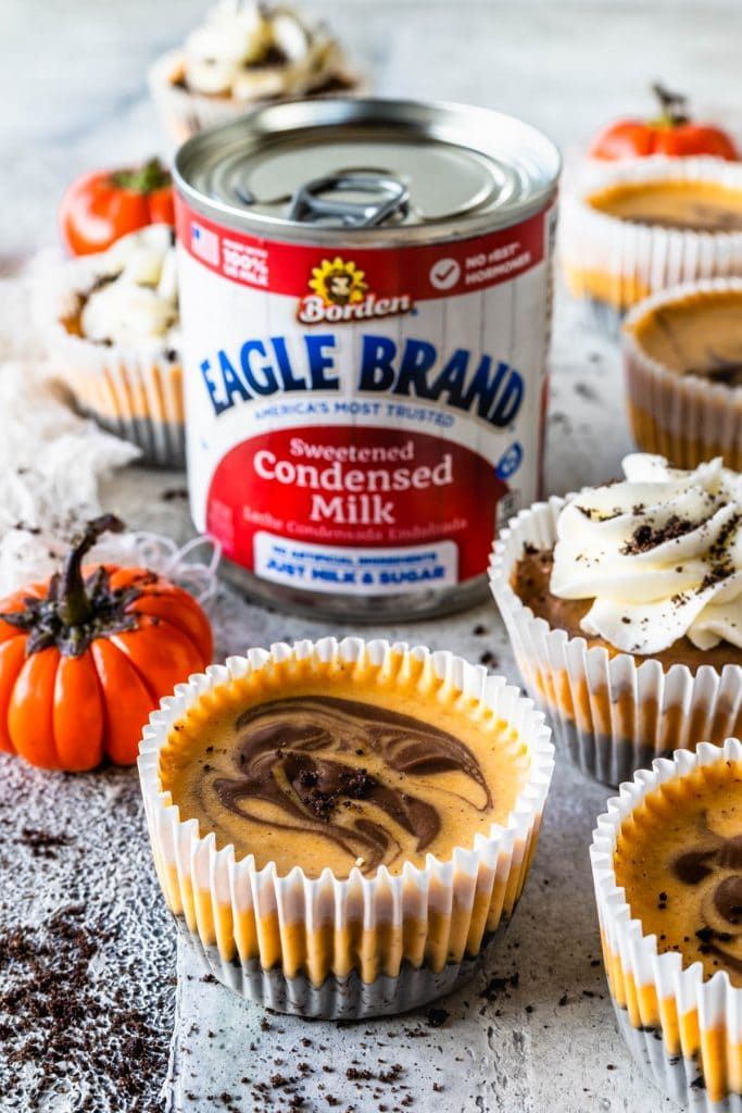 Chocolate Pumpkin Mini Cheesecakes and a can of eagle brand sweetened condensed milk on the back.