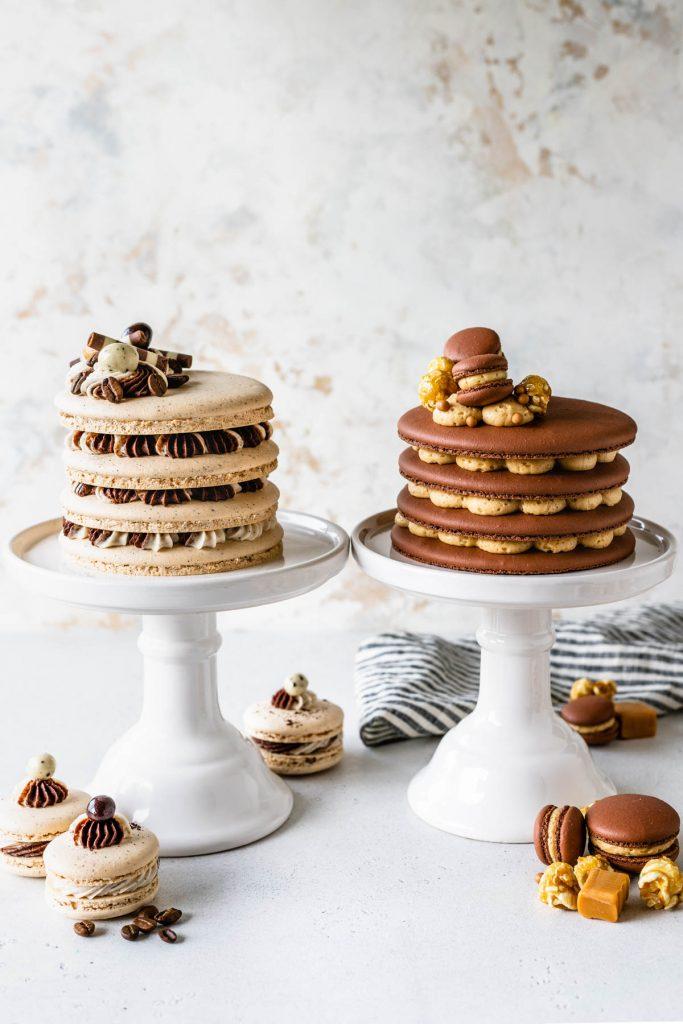 coffee macaron cake and salted caramel macaron cake next to each other.