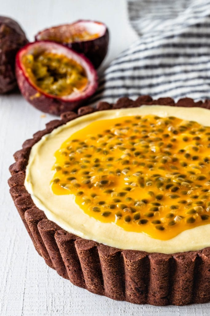 tart passion fruit, topped with passionfruit seeds.