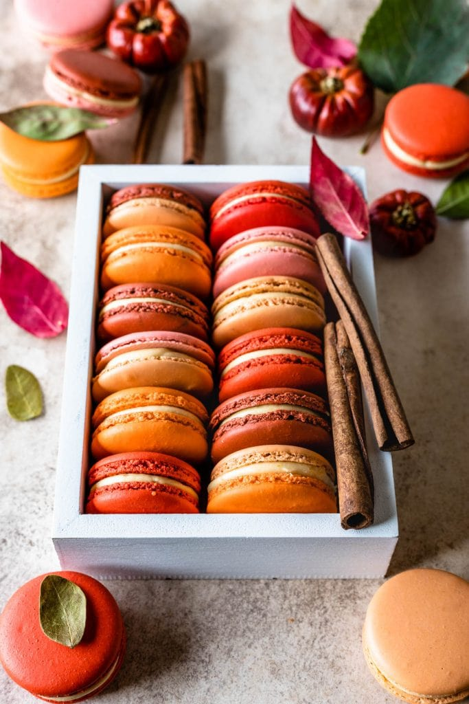 pumpkin macarons in a box with cinnamon sticks and leaves on the side and around.