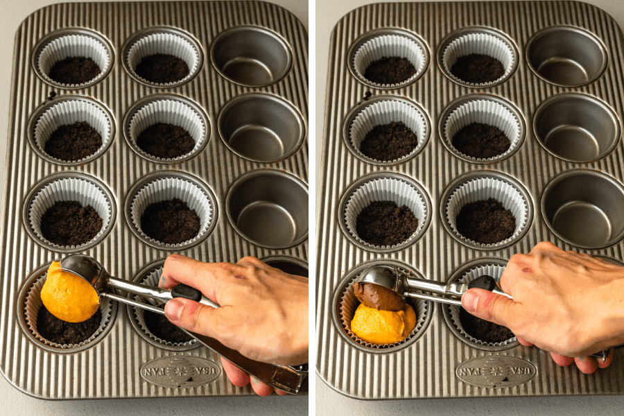 pouring pumpkin cheesecake on the bottom of a cupcake pan lined with oreo crust, and then pouring chocolate batter on top.