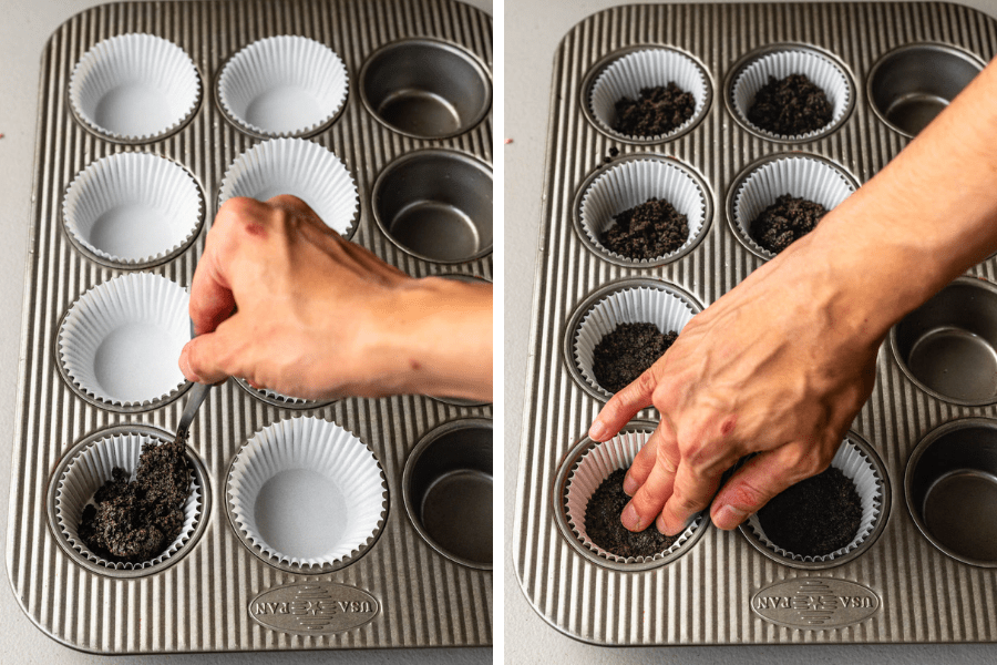 two pictures. first one, spooning oreo crumbs on the bottom of cupcake tin. second picture, using hands to press the oreo crust on the bottom of the cupcake pan.