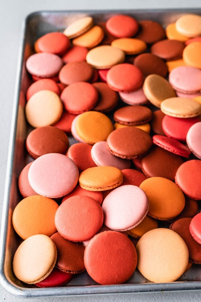 a tray full of macaron shells in all sorts of different colors: orange, salmon, crimson, red, pink.